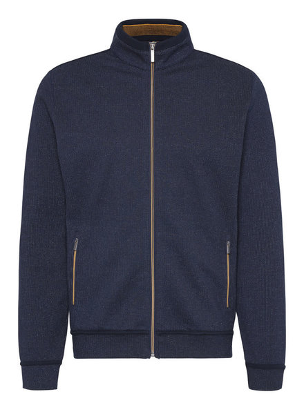 BUGATTI Navy with Gold Trim Full Zip Cardigan