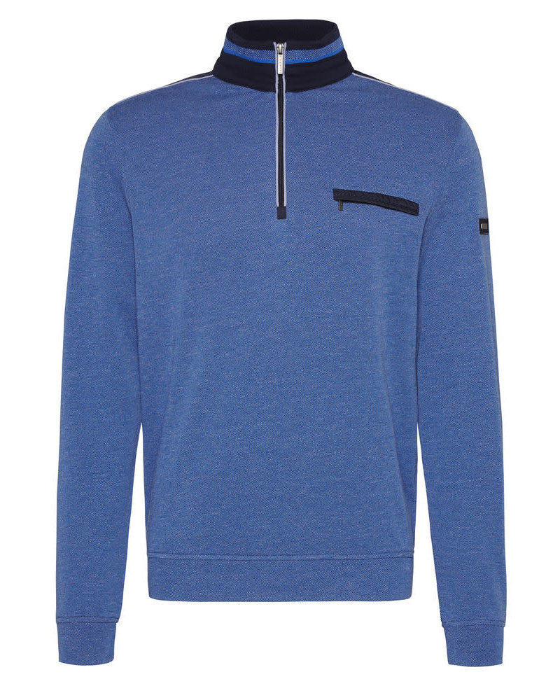 BUGATTI Plain 1/4 Zip with Pocket Knit