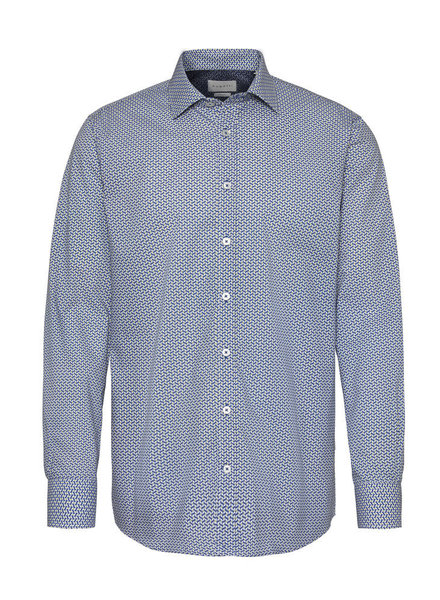 BUGATTI Modern Fit Blue and Yellow Dots Shirt