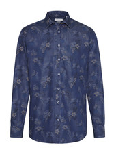 BUGATTI Modern Fit Denim with Floral Print Shirt