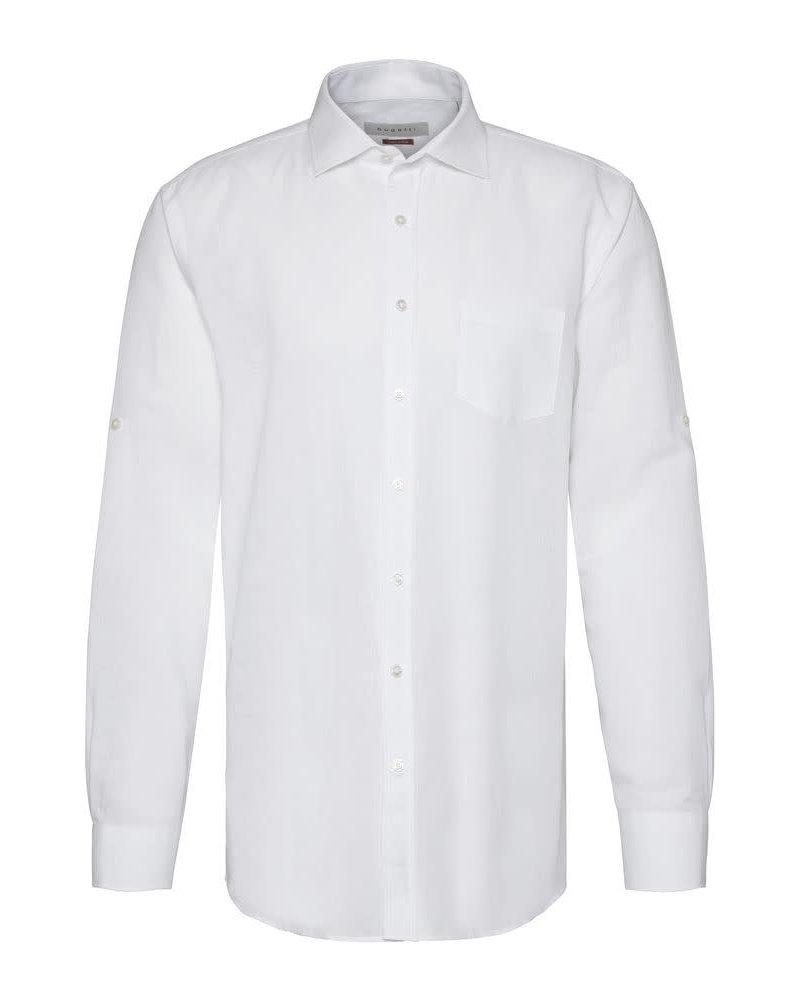 BUGATTI Modern Fit White Linen Cotton Shirt
