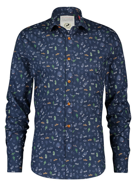 A FISH NAMED FRED Modern Fit Tequila Navy Shirt