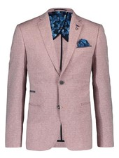 A FISH NAMED FRED Slim Fit Red Linen Look Sport Coat