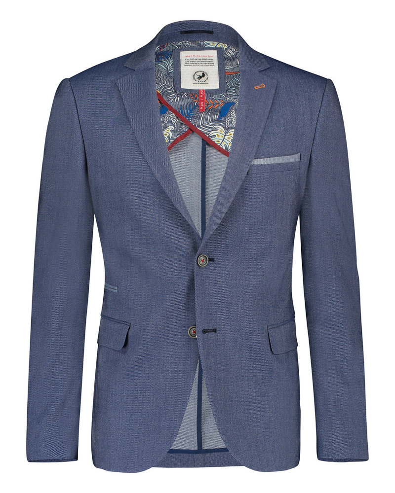 A FISH NAMED FRED Blue Denim Look Blazer