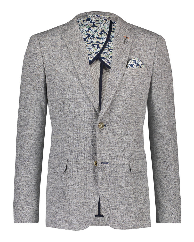 A FISH NAMED FRED Knitted Melange Grey Blazer