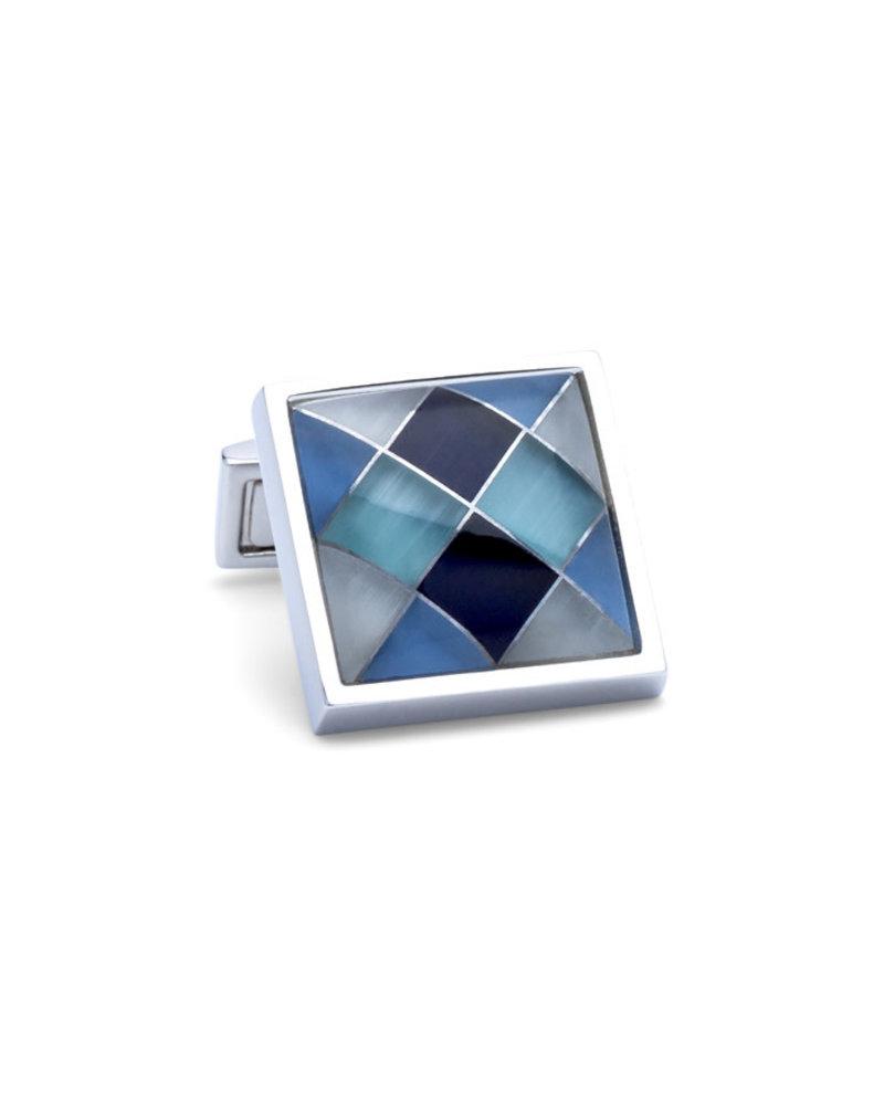 BUGATCHI UOMO Grey & Blue Square Cufflinks