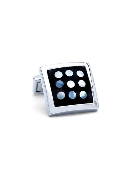 BUGATCHI UOMO Black Square with Silver Polka Dot Cufflinks