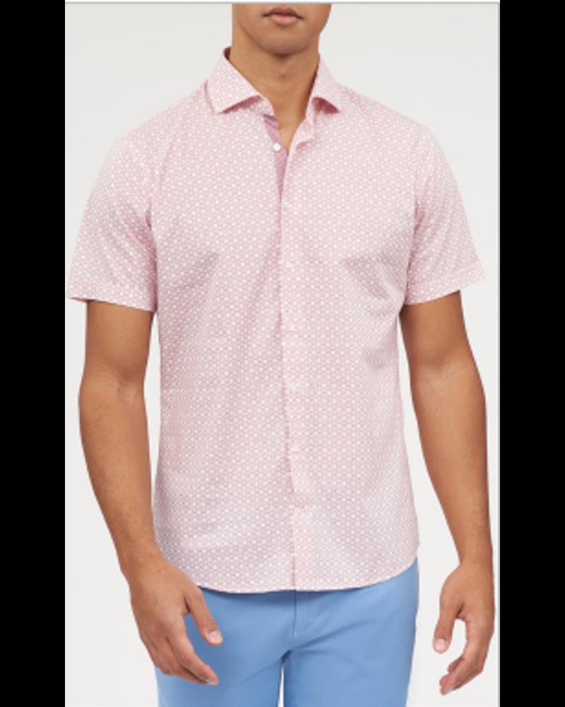 BRAX Modern Fit Hi-Flex Red Geometric Pattern Shirt