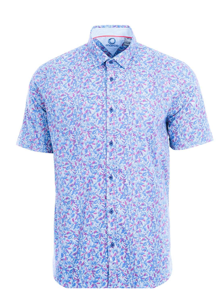 MARCO Modern Fit Rose Blue Leaf Print Shirt