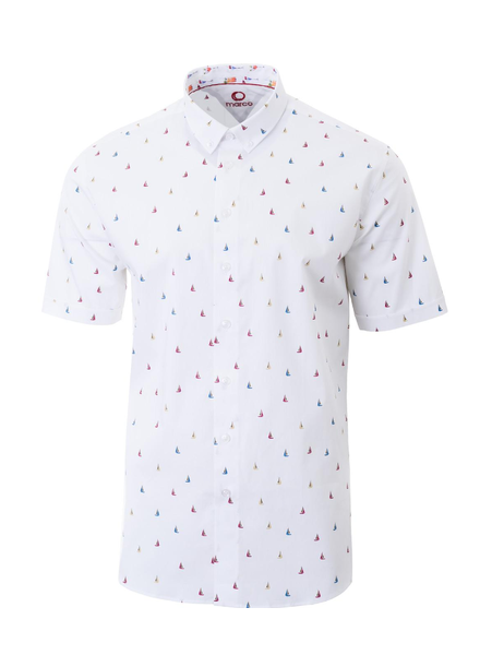 MARCO Modern Fit White with Sailboats Shirt