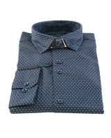 CITY OF GENTLEMEN Modern Fit Navy Multi Dot Shirt