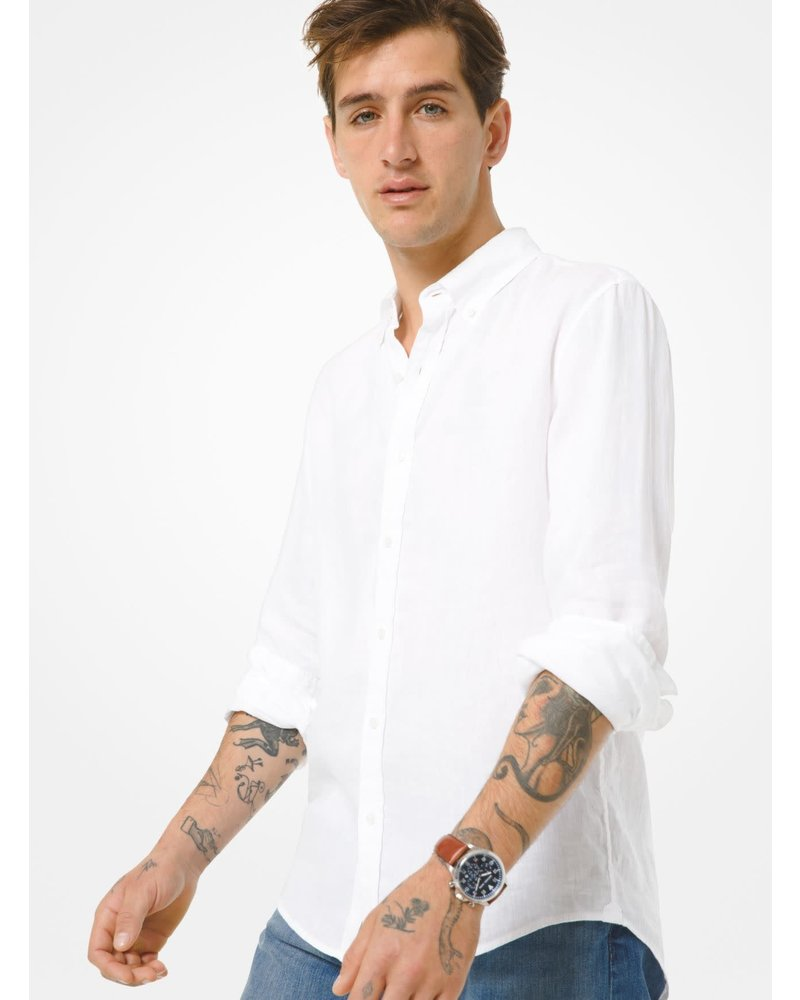 MICHAEL KORS Slim Fit Yarn Dyed Linen Shirt