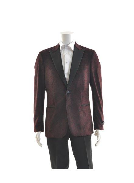 SUITOR Slim Fit Burgundy Paisley Velvet Tuxedo Jacket