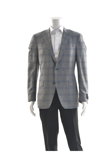 S COHEN Modern Fit Grey Blue Windowpane Sport Coat