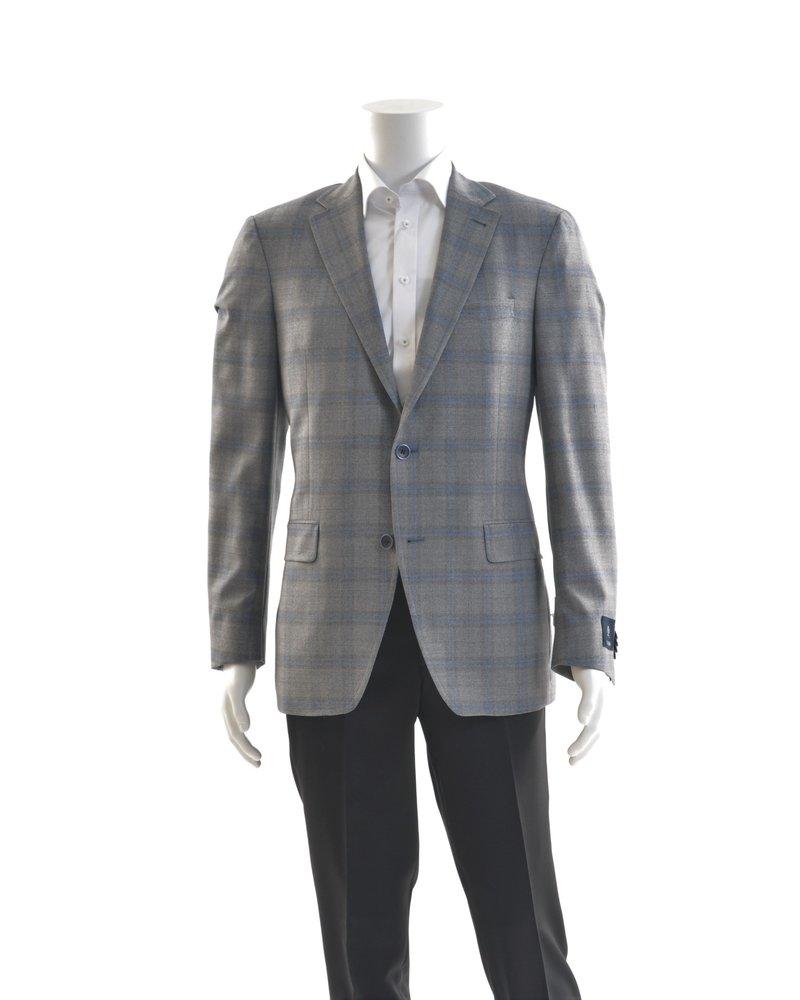 S COHEN Modern Fit Grey Blue Windowpane Sport Coat