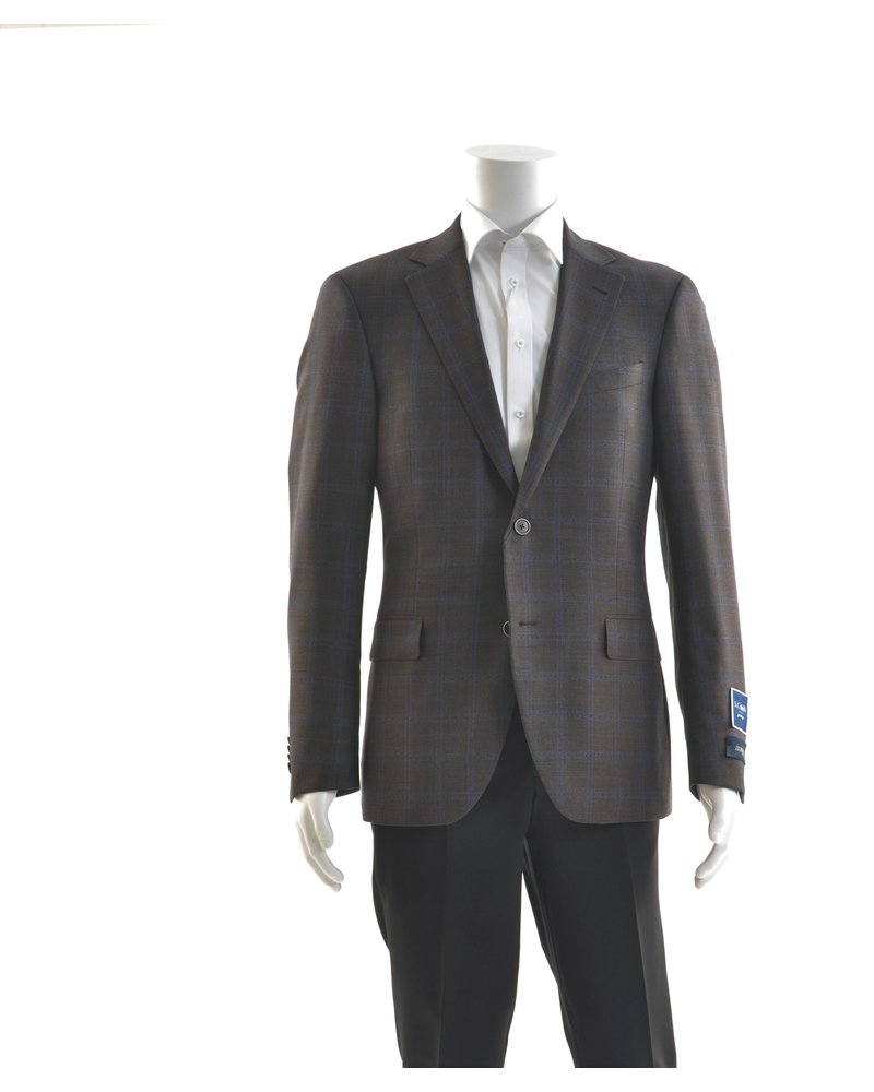 S COHEN Modern Fit Brown with Blue Block Sport Coat