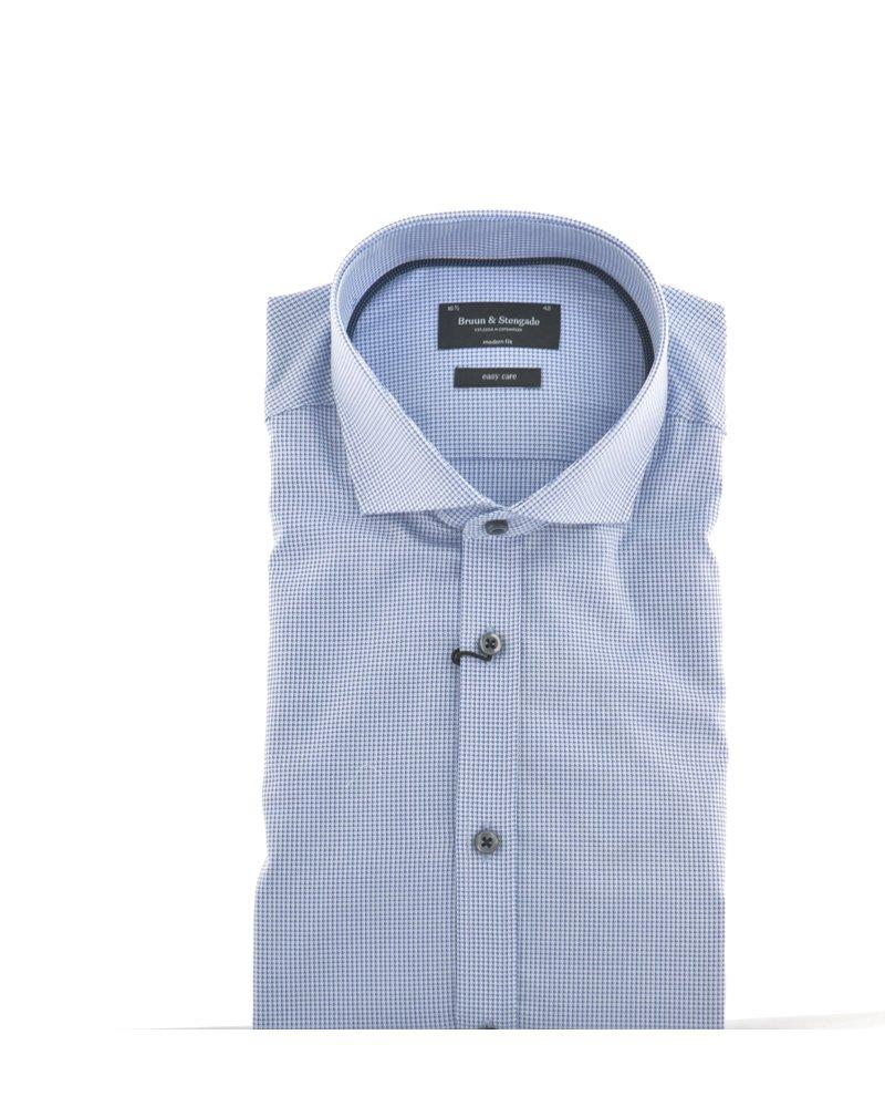 BRUUN & STENGADE Modern Fit Blue Tatersal Shirt