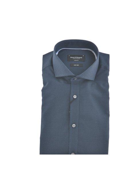 BRUUN & STENGADE Modern Fit Navy Oxford Shirt