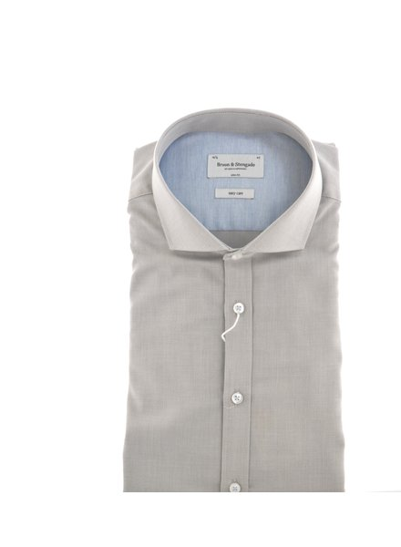 BRUUN & STENGADE Slim Fit Taupe Shirt