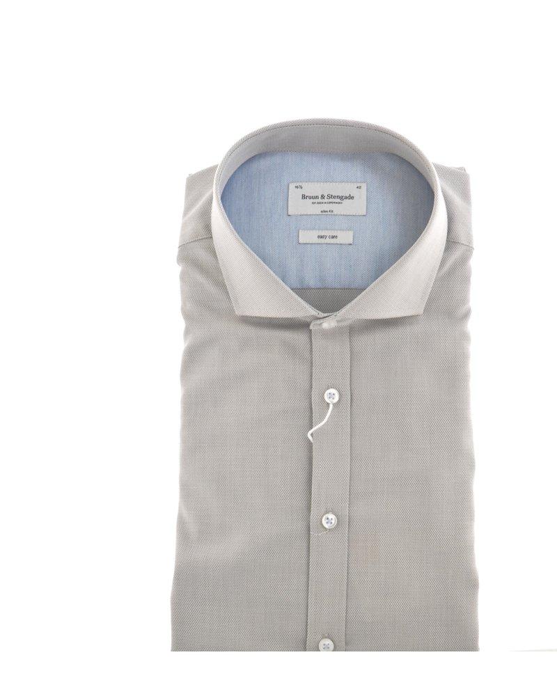 BRUUN & STENGADE Slim Fit Taupe Shirt