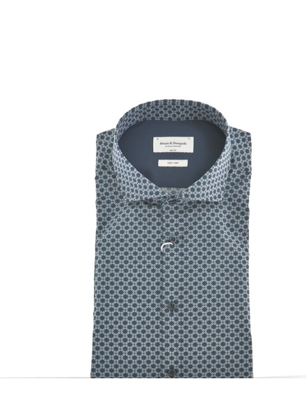 BRUUN & STENGADE Slim Fit Navy With Daisy Circles  Shirt