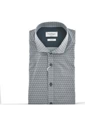 BRUUN & STENGADE Slim Fit Navy Leaf Print  Shirt