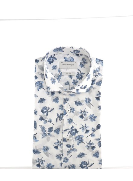 BRUUN & STENGADE Slim Fit White Floral Shirt