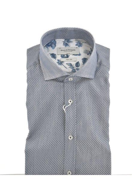 BRUUN & STENGADE Slim Fit Blue with Diamond Neat Shirt