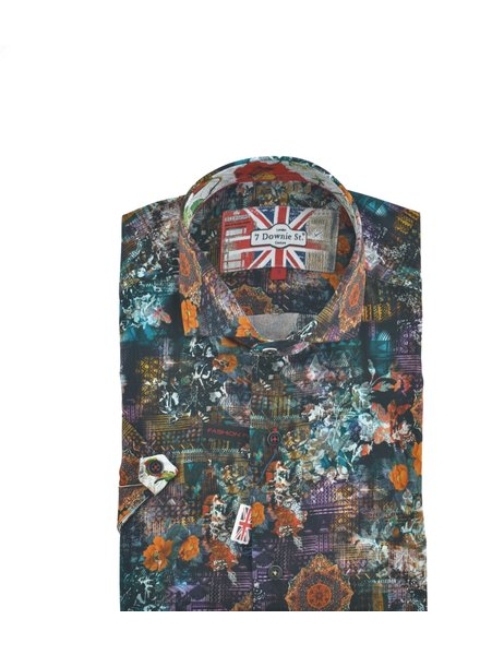 7 DOWNIE Modern Fit Dark Coloured Multi Print Shirt
