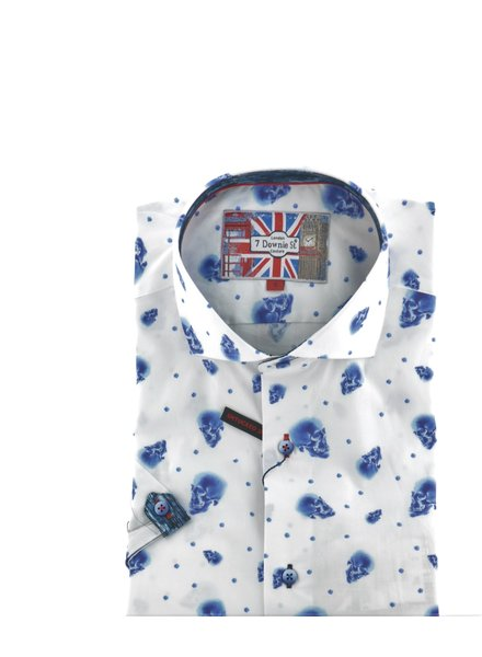 7 DOWNIE Modern Fit White with Blue Skulls Shirt