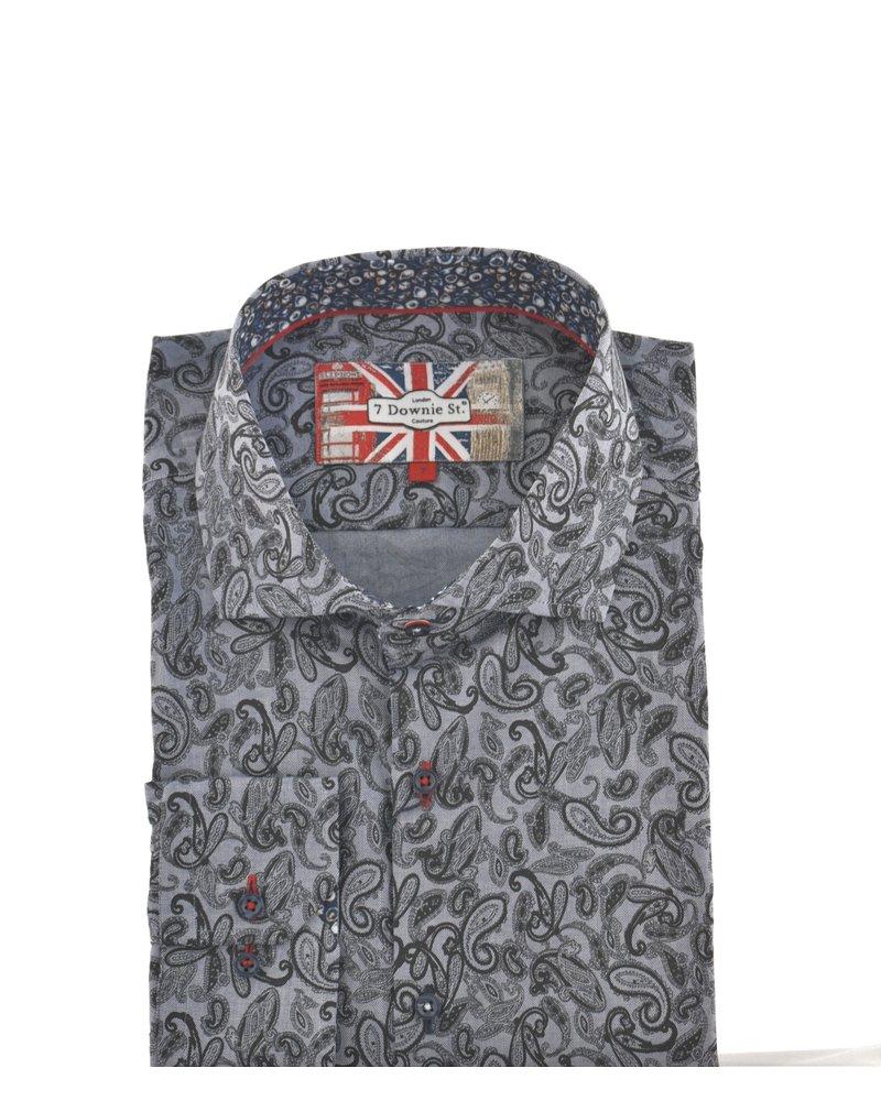 7 DOWNIE Modern Fit Denim Blue Black Paisley Shirt