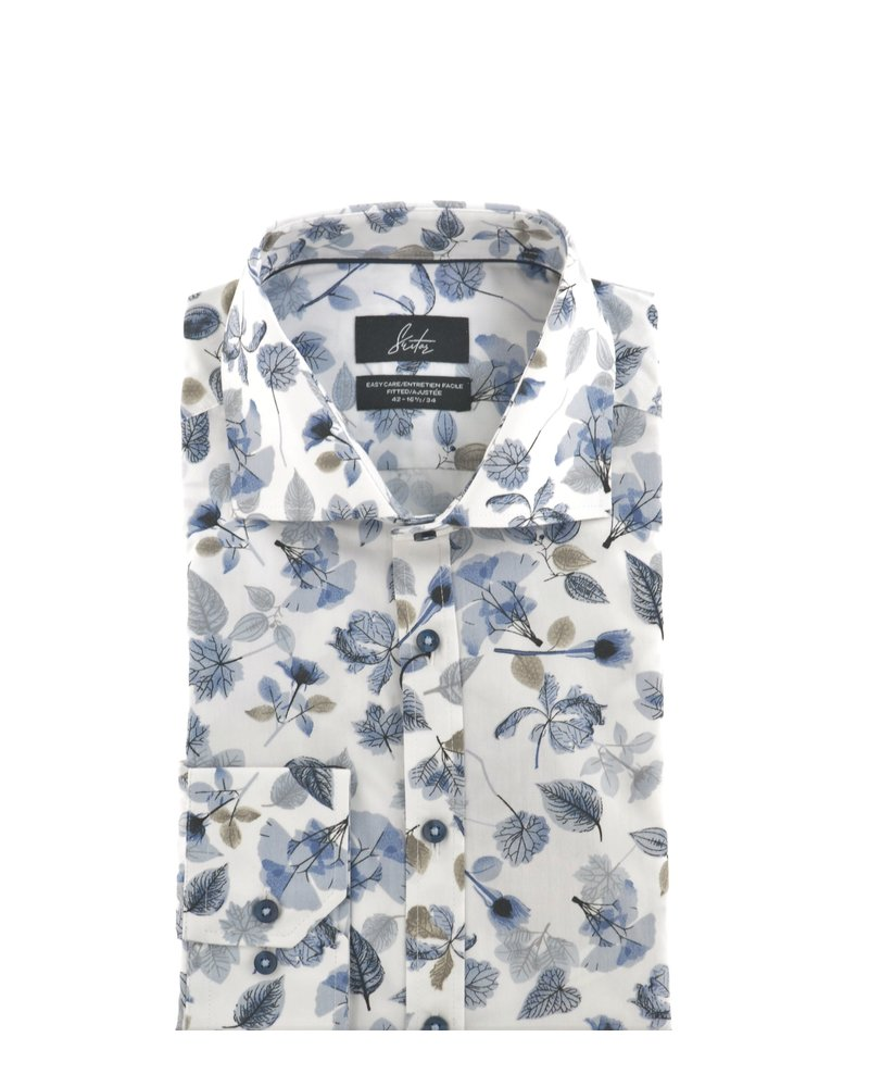 SUITOR Slim Fit White with Blue Floral Shirt