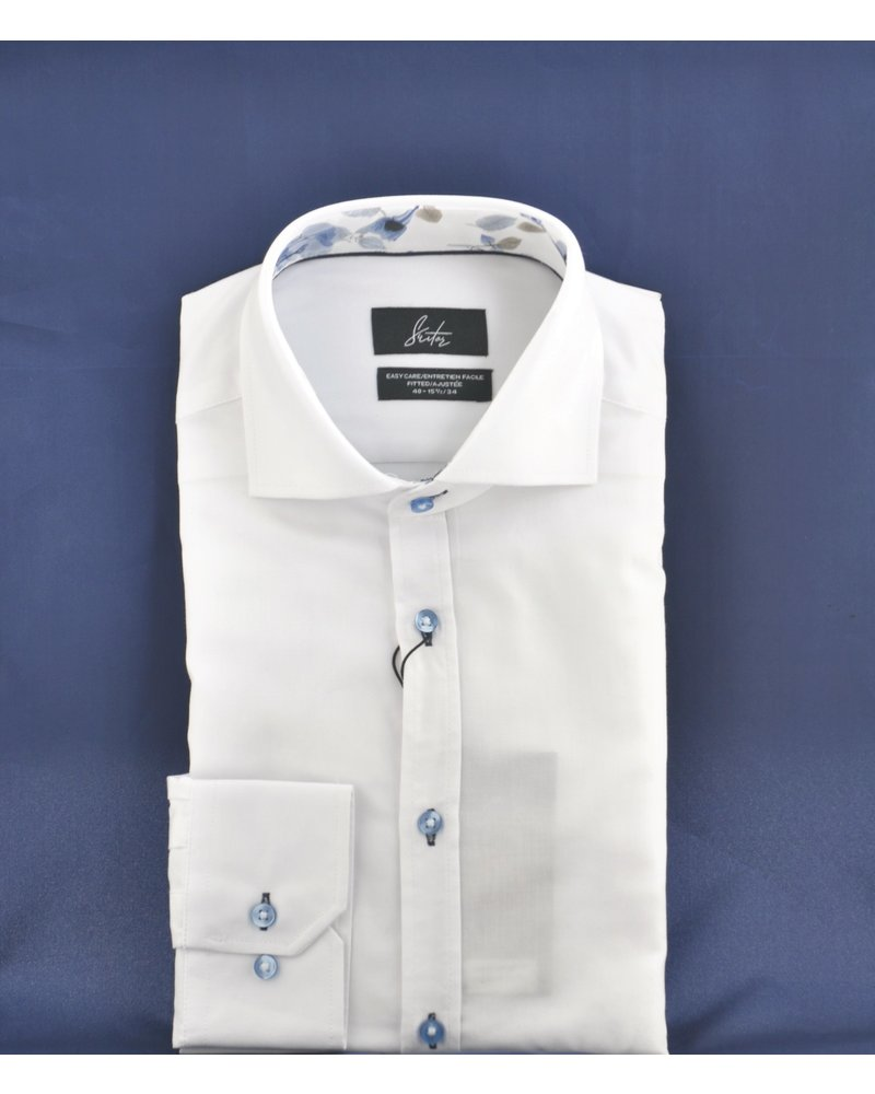 SUITOR Slim Fit White Oxford Blue Buttons Shirt