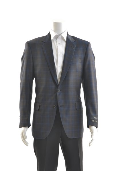 COPPLEY Classic Fit Navy & Brown Check Sport Coat