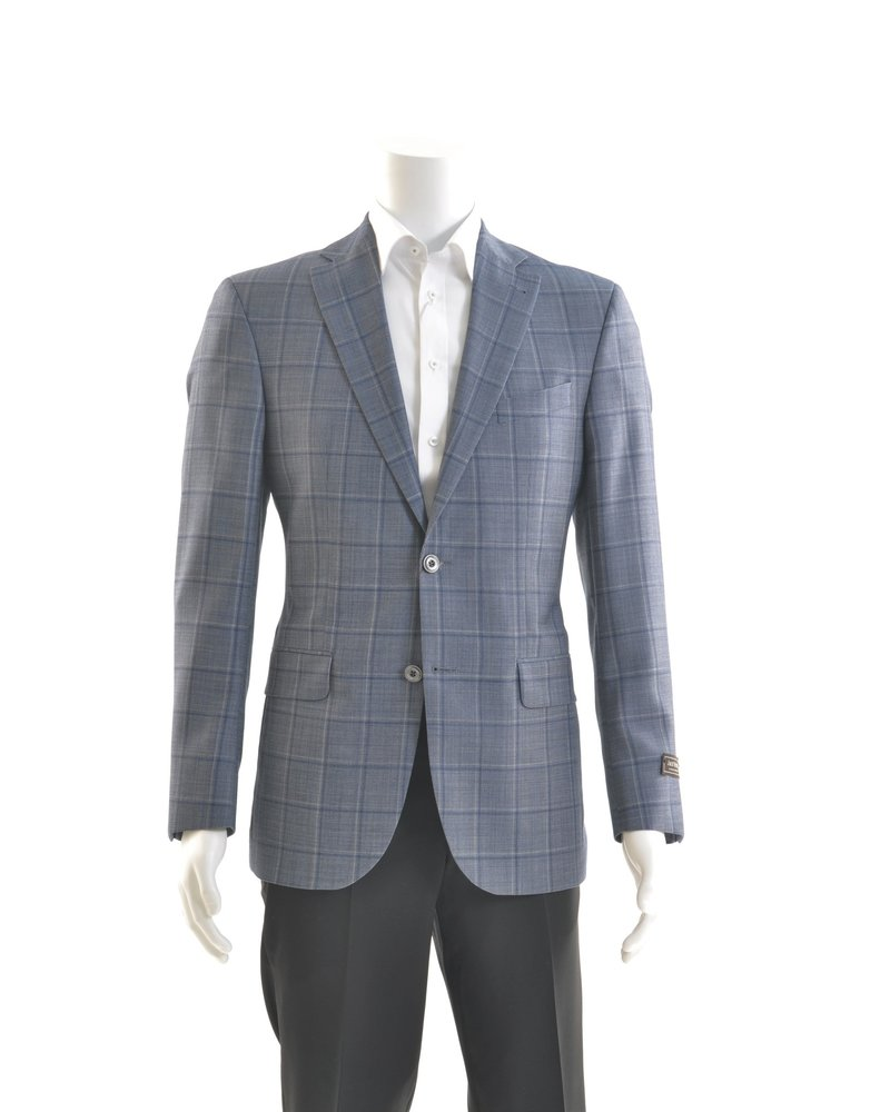 JACK VICTOR Blue Window Pane 1/4 Lined Sport Coat