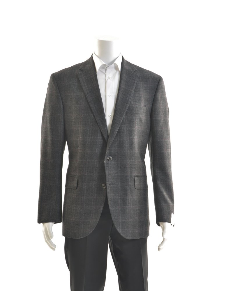JACK VICTOR Modern Fit Charcoal with Red Check Sport Coat