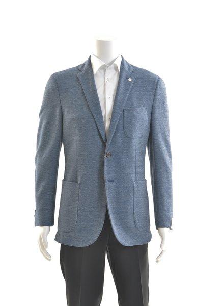 JACK VICTOR Slim Fit Mid Blue Loose Weave Patch Pockets Sport Coat