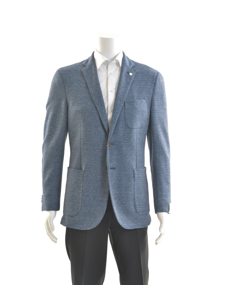 JACK VICTOR Slim Fit Mid Blue Loose Weave Patch Pockets Sport Coat