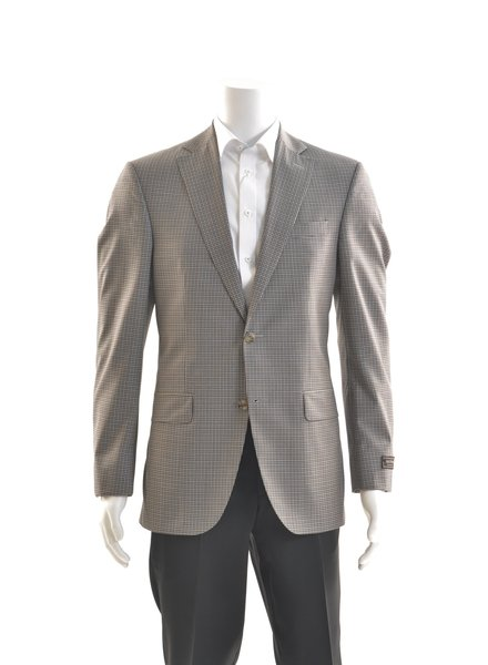 JACK VICTOR Modern Fit Blue Taupe Neat Check Sport Coat