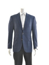 JACK VICTOR Modern Fit Blue with Brown Plaid Sport Coat