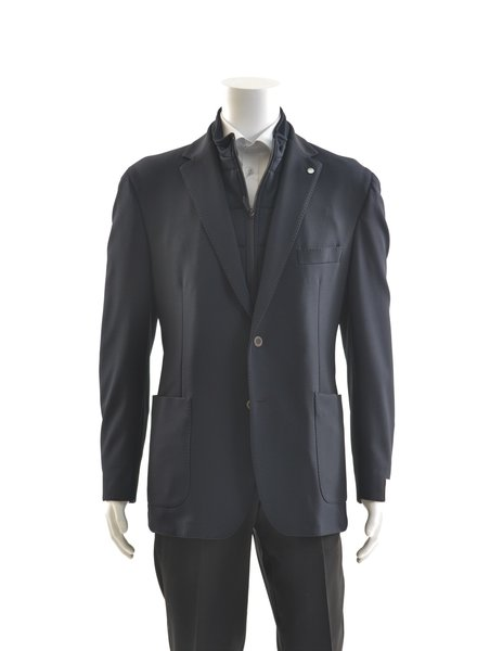 JACK VICTOR Slim Fit Navy Stretch with Zip Out Neck Liner Sport Coat