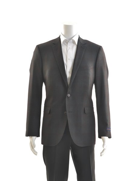 PAUL BETENLY Modern Fit Charcoal Red Glencheck Sport Coat