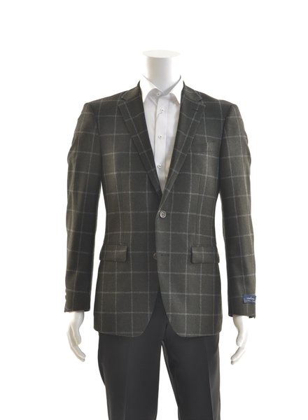 S COHEN Modern Fit Green & Grey Windowpane Sport Coat