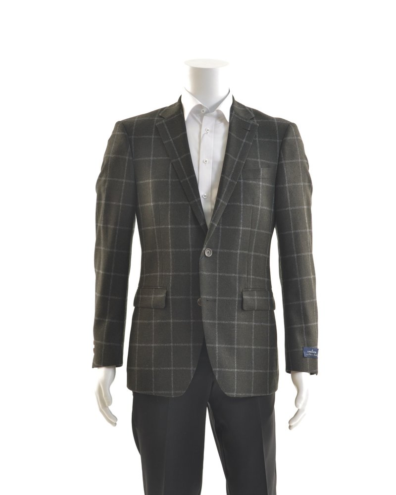 S COHEN Modern Fit Green & Grey Windowpane Sport Coat