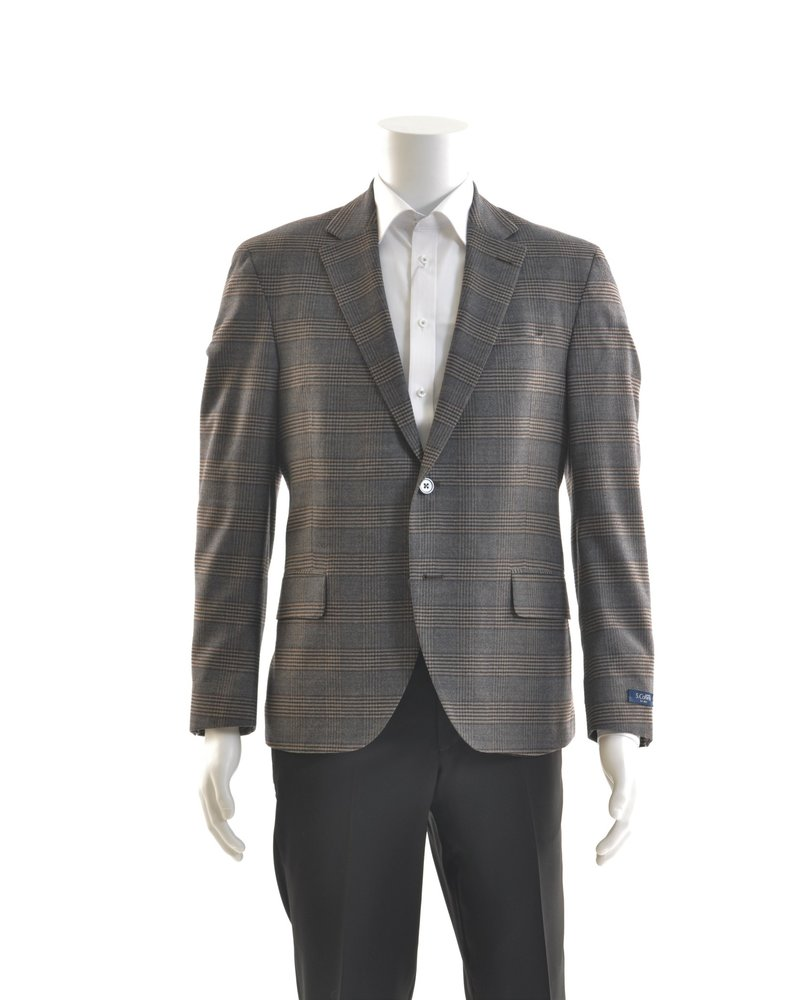 S COHEN Modern Fit Grey/Navy/Brown Plaid Sport Coat