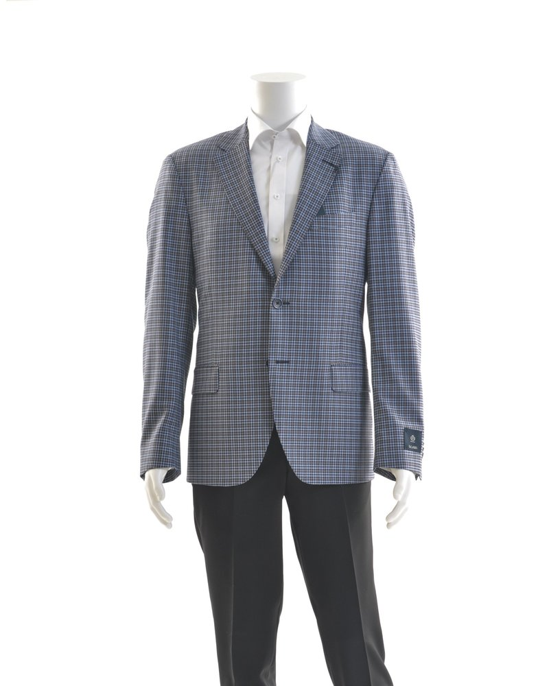 S COHEN Modern Fit Navy Taupe Mini Check Sport Coat