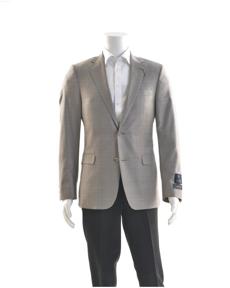 S COHEN Modern Fit Tan Blue Check Sport Coat