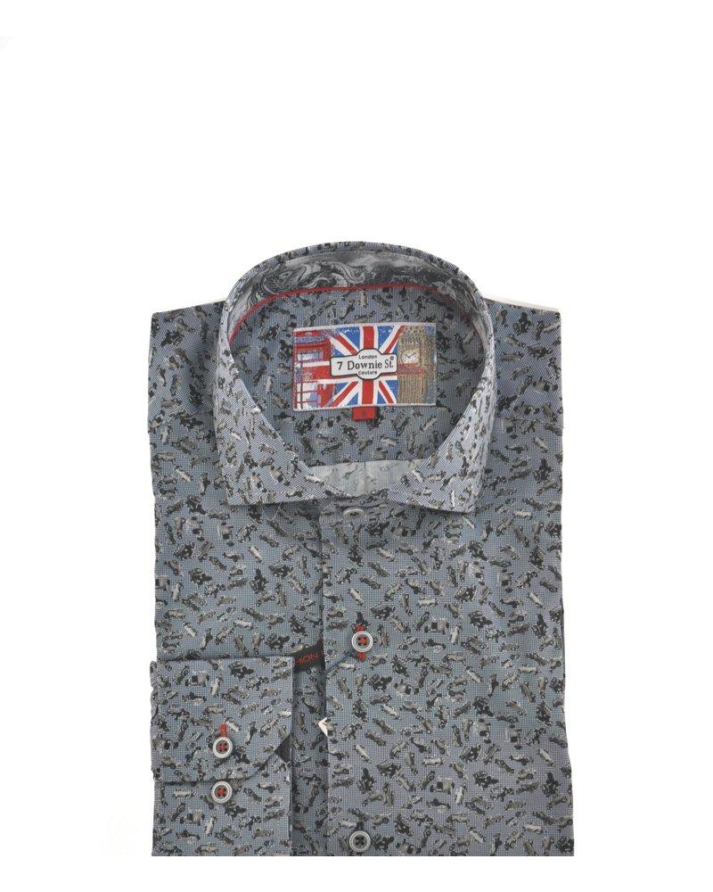 7 DOWNIE Modern Fit Denim Blue with Grey Cars Shirt
