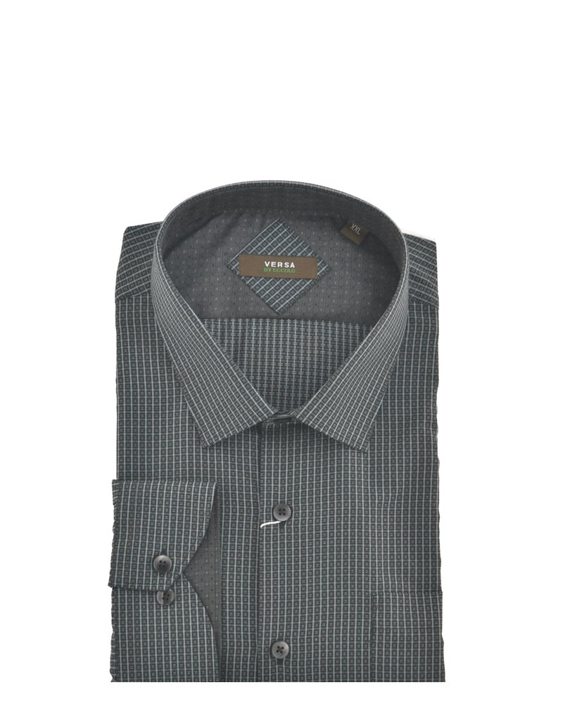 VERSA Modern Fit Black & Grey Square Shirt