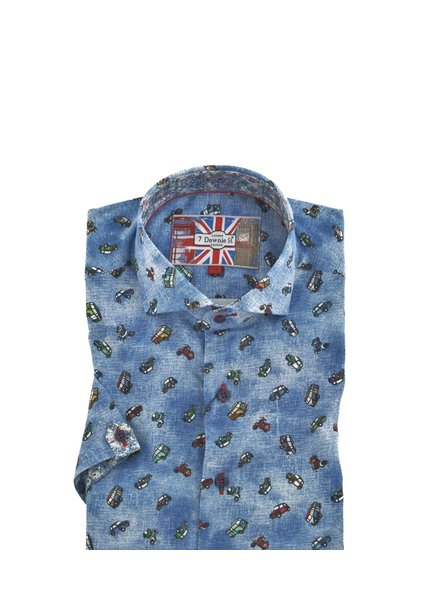 7 DOWNIE Modern Fit Blue Shirt with Cars